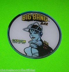 BIG-BANG-BAR-By-CAPCOM-NOS-PINBALL-MACHINE-PROMO-PLASTIC-COASTER-SPACE-AGE #pinballflyer #spaceage #pinball