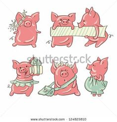 Six funny cartoon pigs , isolated from a background.