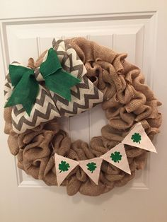 Burlap St Patricks day wreath by CustomaDOORables on Etsy https://www.etsy.com/listing/218061972/burlap-st-patricks-day-wreath