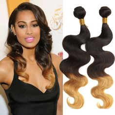 """Hot! Brazilian Ombre Human Hair Extension12""""-30"""" Body Wave Remy Hair Wefts #wigiss #HairExtension"""