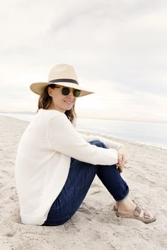 """""""In the early mornings and in the evenings, when the dew is heavy and the breeze picks up off the water, rolled Gap jeans are my favorite style,"""" says designer Jenni Kayne. gap.com"""