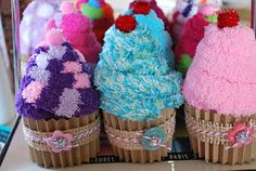 these sock cupcakes are so dang cute! What a fun birthday party favor.