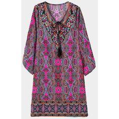 Yoins Ethnic Print Mini Dress (74 BRL) ❤ liked on Polyvore featuring dresses, black, graphic print dress, tribal dress, mini dress, tribal print mini dress and tribal print dress