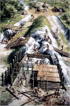 Artist's impression of the building of Nutbane by Mike Codd Prehistoric Period, Prehistoric Man, Historical Art, Historical Pictures, Conquistador, Stone Age People, Ages Of Man, Classical Antiquity, Sword And Sorcery