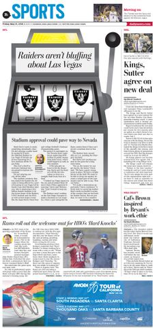 NFL Raiders to Las Vegas #News #GraphicDesign #Layout #Sports  L.A. Daily News  more at https://www.pinterest.com/rojasmark2/newspaper-designs-by-mark-rojas/