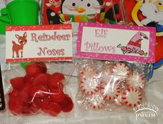 Christmas Candy: Reindeer Noses and Elf Pillows. Buddy the Elf North Pole Breakfast