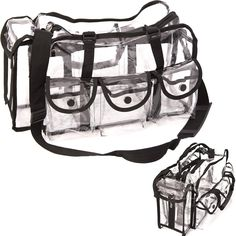 Clear See Through Vinyl 6 External Pockets Shoulder Strap Makeup Artist Cosmetics Accessories Supply Storage Travel Organizer Carrying Case Bag by CASEMETIC Makeup Case, Makeup Kit, Makeup Tools, Makeup Brushes, Makeup Ideas, Eye Makeup, Cosmetic Storage, Cosmetic Bag, Traci Lynn Fashion Jewelry