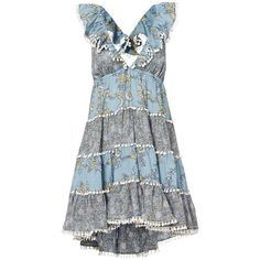 Zimmermann Women's Tiered Print Sun Dress (710 CAD) ❤ liked on Polyvore featuring dresses, sun dresses, empire waist dresses, tiered dress, blue cotton dress and cotton dresses