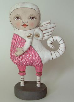 Pink Monster-- Original Contemporary Folk Art Doll-- Made to order within a week. $120.00, via Etsy.