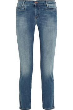 Blue stretch-denim Button and concealed zip fastening at front 92% cotton, 6%…