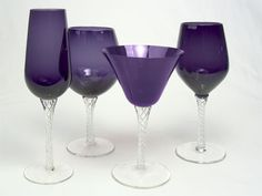 Braid Stemware by Artland.  These come in this purple shown, red, a forest green, bold blue, amber  clear.