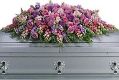 Funeral flower caskets are chosen by the family members. Half or full floral casket arrangements