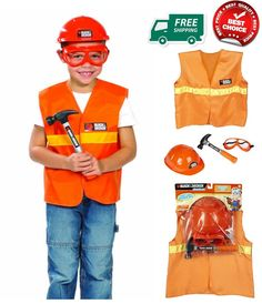 Black and Decker Jr Dress Up Play Safety Set Kids Toy Costume Engineer Goggles  #BLACKDECKER
