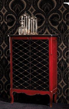 Mueble bar decorado rombos rojo y negro de Ámbar Muebles