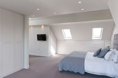Bespoke loft wardrobes and eaves storage designed to fit the most awkward attic conversion. Eaves Storage, Loft Storage, Bedroom Storage, Storage Spaces, Storage Ideas, Attic Loft, Loft Room, Bedroom Loft, Attic Ladder