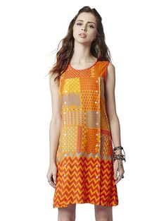6806c7d44 Buy Global Desi multicolor patent viscose dress Online