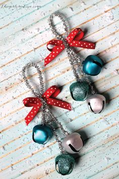 These cute jingle bell ornaments are so simple to make with just pipe cleaners, ribbon, and Christmas ornaments. Hang this fun DIY holiday decor on your tree or around your home to get your family and friends in the holiday spirit.