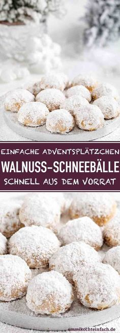 Walnuss Schneebälle – emmikochteinfach Walnut Snowballs Made Easy The recipe for simple Advent and Christmas cookies that are quickly made from your stock cookies Season Easy Christmas Cookie Recipes, Christmas Desserts, Christmas Baking, Christmas Cookies, Easy Bread Recipes, Easy Cookie Recipes, Baking Recipes, Dessert Recipes, Delicious Desserts