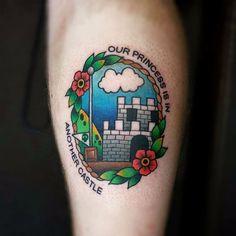 Super Mario World tattoo by Gooney Toons. #GooneyToons #supermario #videogame #castle