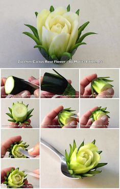 Here's the link to the tutorial >> How to Make Zucchini Cactus Rose Flower don't know how I feel about a zucchini on a cake? How to Make Zucchini Cactus Rose FlowerCreative Flowers using Veggies & Fruit!Discover recipes, home ideas, style inspiration Veggie Art, Fruit And Vegetable Carving, Cactus Rose, Cactus Cactus, Deco Fruit, Creative Food Art, Creative Ideas, Diy Ideas, Food Carving