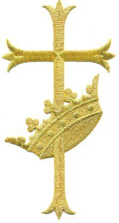 Gold Metallic Latin Fleur Cross W/Crown - Vestment-Embroidered Iron On Applique  | eBay