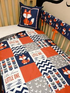 Baby Boy 4 PC Fox Crib Bedding in Navy, Orange and Grey – Patchwork Blanket, Crib Skirt, Front Rail Guard and Accent Pillow – baby pillow boy Carters Baby, Baby Boys, Baby Boy Rooms, Baby Boy Nurseries, Room Boys, Baby Boy Themes, Baby Boy Bedding, Baby Boy Quilts, Crib Bedding Sets