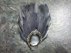 Grey feather hair clip