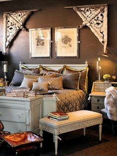 Salvaged wood architectural pieces as headboard, vintage furniture; Upcycle, Recycle, Salvage, diy, thrift, flea, repurpose!  For vintage ideas and goods shop at Estate ReSale  ReDesign, Bonita Springs, FL