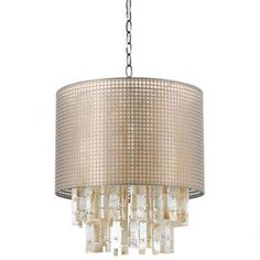 """Pendant with a metallic drum shade and shell accents.Product: Pendant    Construction Material: Shell, resin and gauze     Color: Metallic pearl and gold  Features:   UL listed for dry locations 120 Volts Designed by Deborah Benz Swag kit included Can be used as plug-in or hardwired connection    Accommodates: (1) 100 Watt Edison base bulb - not included   Dimensions: 17"""" H x 16"""" Diameter"""