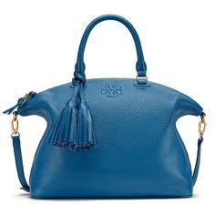 Tory Burch Thea Medium Slouchy Satchel ($495) ❤ liked on Polyvore featuring bags, handbags, tassel purse, top handle handbags, structured handbag, top handle satchel handbags and tory burch