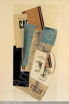 Glass, Carafe and Newspapers by George Braque (1882-1963) | 1914, charcoal, collage, oil, chalk #mixed_media #collage