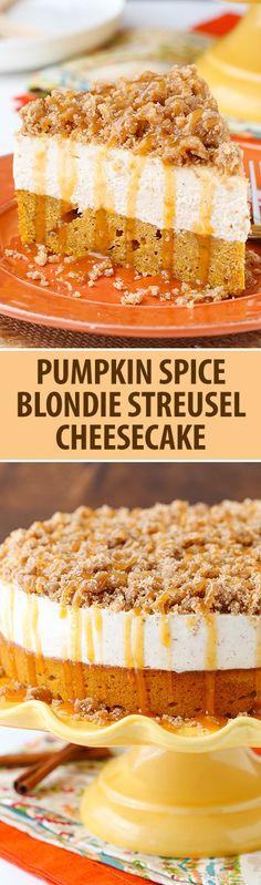 Caramel Pumpkin Spice Blondie Streusel Cheesecake - pumpkin blondie, spiced cheesecake, streusel and caramel!