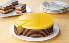 Passionfruit Mousse Cake & Opera Cake Opera Cake, Mousse Cake, Fondant, Mini Cakes, Panna Cotta, Wedding Cakes, Goodies, Baking, Dessert Ideas