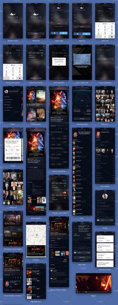 Cinema tickets UI Kit by Shakuro on @creativemarket Android App Design, Ios App Design, Mobile App Design, Interface Design, Interface App, Login Page Design, Web Design, Flat Design, Graphic Design