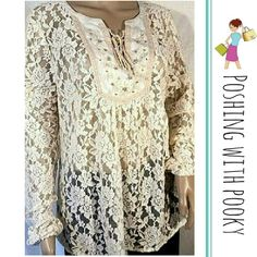 """Miss Me Lace Sheer Long Sleeve Peasant Top Miss Me all over lace sheer tie front sheer long sleeve top. Approx. Measurements... 22"""" across chest, 3-1/4"""" shoulder, 27"""" sleeve, 29"""" length down back. SELF: 70% cotton, 30% nylon. CONTRAST 100% rayon. NWT.   STORE CODE: ST2 Miss Me Tops Blouses"""