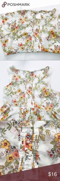Lauren Conrad floral top Great condition No holes, no stains Size large   Amazing floral print With lace features around arms and bottom All buttons are secure   Measurements laid flat:  Shoulder to bottom of shirt: 27 inches  Arm pit to arm pit: 19 inches  Width at bottom of buttons: 18 inches LC Lauren Conrad Tops Blouses
