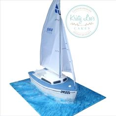 A replica of a small sailing boat for an avid sailor. Choc Mud cake with ganache and fondant. Baot is about 14 inches long. Sailboat Cake, Nautical Cake, Blue Velvet Cakes, Camo Wedding Cakes, Shoe Cakes, Purse Cakes, Bithday Cake, Fantasy Cake, Beach Cakes
