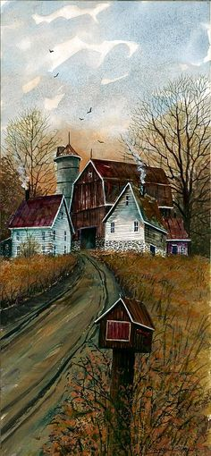 Farm House Mail by Steven W Schultz - Farm House Mail Painting - Farm House Mail Fine Art Prints and Posters for Sale Country Barns, Old Barns, Country Life, Farm Paintings, Country Paintings, Farmhouse Paintings, Farmhouse Mailboxes, Barn Art, Country Scenes