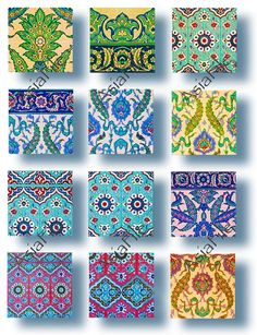 Arabic Islamic Tiles 1 Inch Squares Digital Printable Scrapbooking Decoupage Collage Paper Crafts In Moroccan Art, Moroccan Tiles, Pottery Patterns, Tile Patterns, Making Resin Jewellery, Clay Jewelry, Islamic Tiles, Unique Tile, Stationery Craft