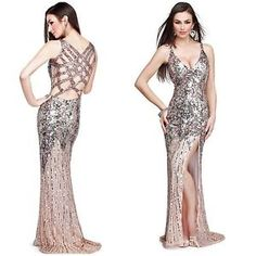 NWT PRIMAVERA COUTURE 9490 GATSBY STYLE OPEN BACK SEQUINED GOWN IN CHAPAGNE$399 | eBay