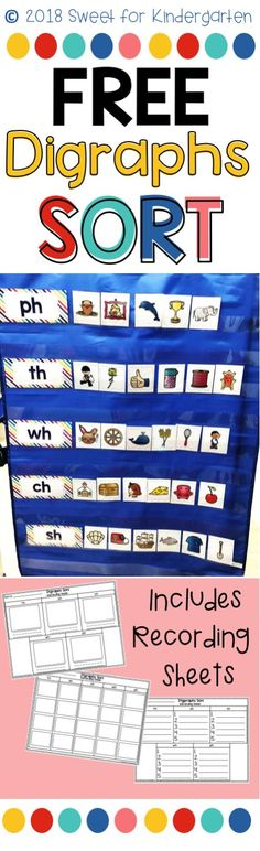 Help your students learn how to identify digraphs with this FREE colorful picture sort! Students can sort the pictures by digraph, then use one of the 3 recording sheets to write or draw their answer. Great for Kindergarten or Grade centers! Kindergarten Freebies, Kindergarten Centers, Kindergarten Reading, Teaching Reading, 1st Grade Centers, Word Work Centers, Reading Centers, Writing Centers, Phonics Lessons