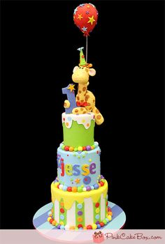 baby birthday with giraffe & balloon