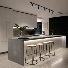 Wohnen Polished concrete floor Trees matter to the look of your home. Luxury Kitchen Design, Kitchen Room Design, Luxury Kitchens, Home Decor Kitchen, Interior Design Kitchen, Home Kitchens, Minimal Kitchen Design, Kitchen Modern, Kitchen Ideas