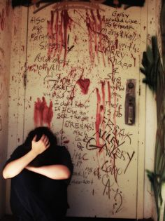Thoughts can sometimes be hard to control, crushing, overpowering, especially to a damaged mind, as this photograph clearly shows by turning the thoughts into graffiti on the walls.