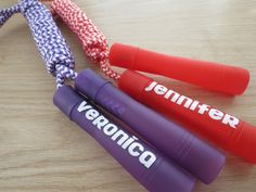 Personalized jumpropes - great birthday party favors! Trampoline Birthday Party, Birthday Party At Park, Sports Theme Birthday, 4th Birthday Parties, Birthday Party Favors, 7th Birthday, Birthday Ideas, Pink Party Favors, Trampolines