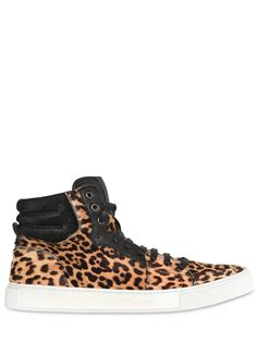 YVES SAINT-LAURENT  MALIBU HIGH LEOPARD PRINT PONY SNEAKERS