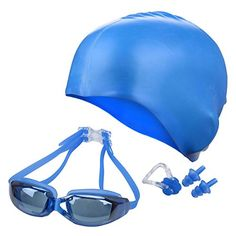 Ayliss Panoramic Swim GearGoggles  Cap  Ear  Nose PlugsHigh Definition Anti Fog No Leaking Blue * For more information, visit image link.Note:It is affiliate link to Amazon.