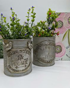 Decoupage, Tin Can Art, Wood Pallet Art, Tin Can Crafts, Iron Orchid Designs, Altered Tins, Plastic Bottle Crafts, Clay Houses, Diy Crafts Hacks
