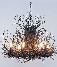 "Chandelier made of real hickory twigs, 3 sizes: 24"", 30"", 36"" diameter. Custom long tapered bulbs. Very unique branch light fixture for a rustic touch."