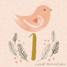 Day 1 of an illustrated advent calendar with a Christmas bird, illustrated in watercolour by Katy Bloss.